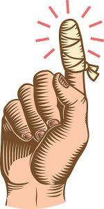 Bandage på skadet finger
