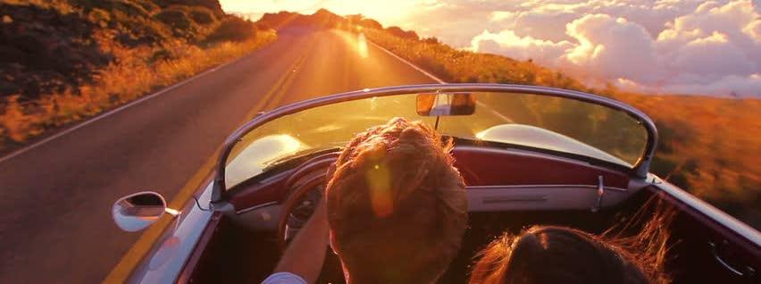 Tenk deg at du kjører mot solnedgangen.